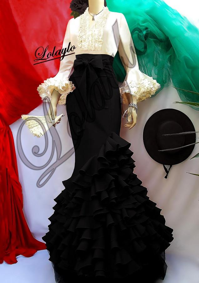 Lola negra blusa marfil