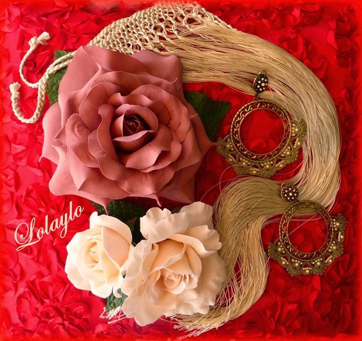 gargantilla, flor 17 cm, doble flor, pendient